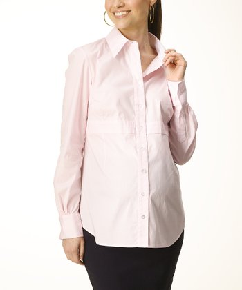 Light Pink Classic Maternity Button-Up