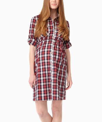 Navy Plaid Maternity Shirt Dress