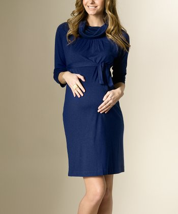 French Navy Wool-Blend Maternity Cowl Neck Dress