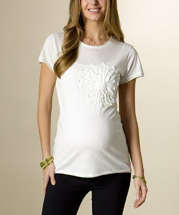 White Sweet Pea Maternity Tee