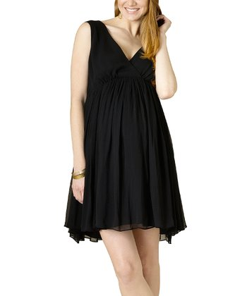 Black Silk Maternity Empire-Waist Dress