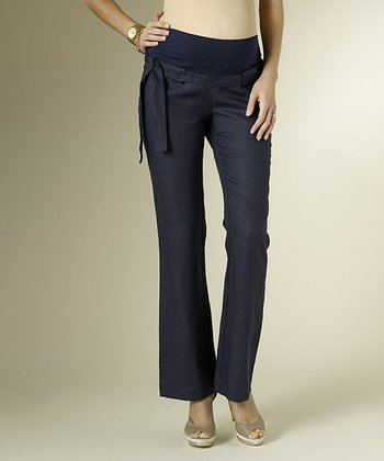 Navy Basic Linen Maternity Pants