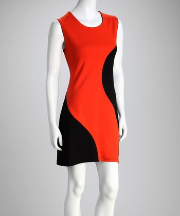 Orange Color Block Dress