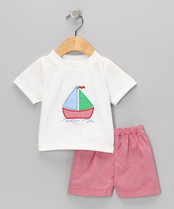 White Sailboat Tee & Red Shorts - Infant