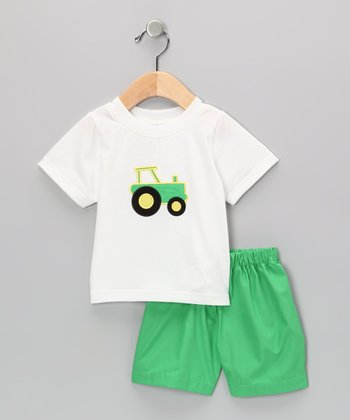 White Tractor Tee & Green Shorts - Infant & Toddler