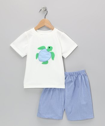 White Turtle Tee & Blue Shorts - Infant & Toddler