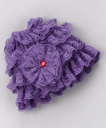 Purple Lace Ruffle Beanie