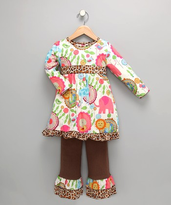 White & Brown Zoo Tunic & Pants - Girls