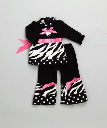 Black Zebra Heart Doll Outfit