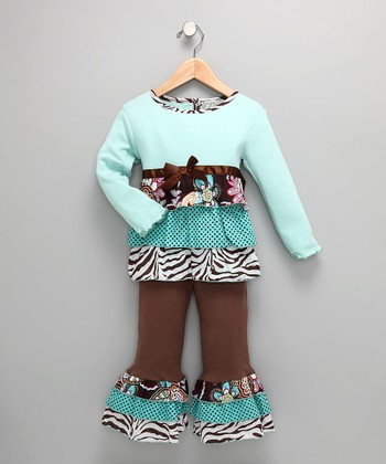 Chocolate & Turquoise Zebra Tunic & Pants - Toddler & Girls