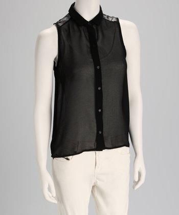 Black Semi-Sheer Lace Sleeveless Button-Up