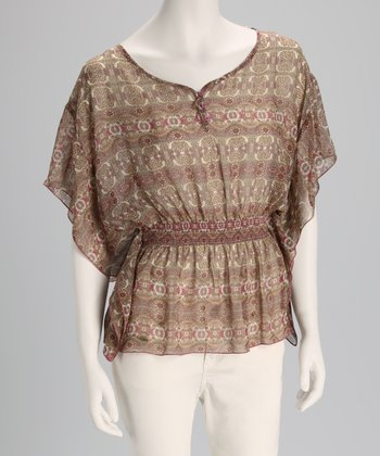 Taupe & Mauve Print Cape-Sleeve Top