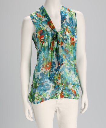Blue Floral Front-Tie Sleeveless Top