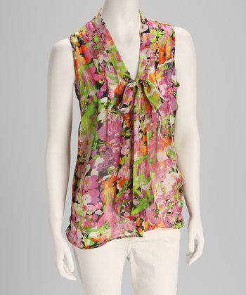 Pink Floral Front-Tie Sleeveless Top