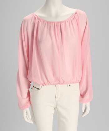Baby Pink Sheer Dolman Crop Top