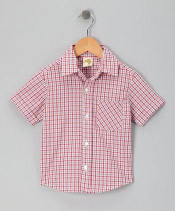 Crimson Gingham Button-Up Shirt - Infant, Toddler & Boys