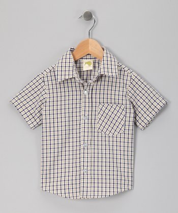 Navy & Sand Gingham Button-Up Shirt - Infant, Toddler & Boys