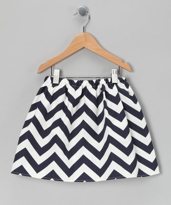 Navy Zigzag Skirt - Toddler & Girls