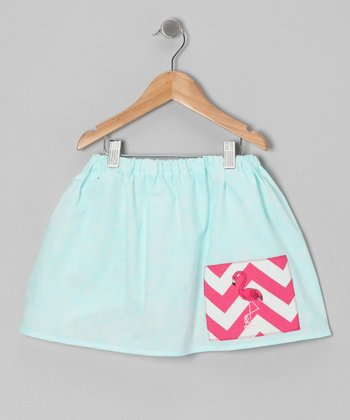 Light Blue Chevron Flamingo Skirt - Infant, Toddler & Girls