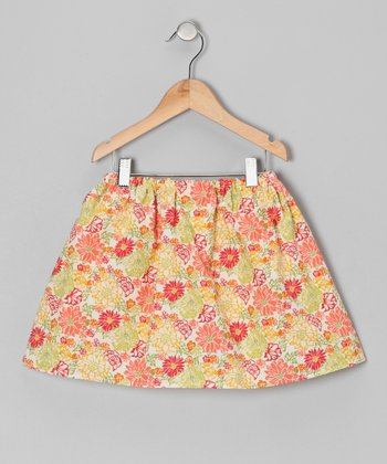 Coral & Yellow Floral Skirt - Infant, Toddler & Girls