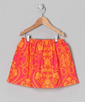 Coral & Orange Damask Skirt - Infant & Toddler