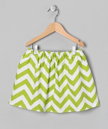 Green & White Zigzag Skirt - Infant