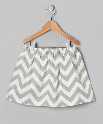 Gray & White Chevron Skirt - Infant, Toddler & Girls
