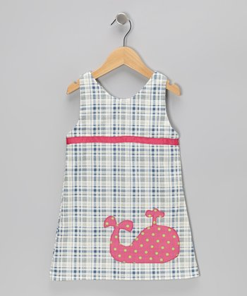 Navy & White Plaid Whale Dress - Infant, Toddler & Girls
