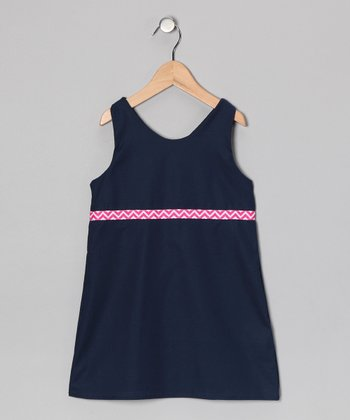 Navy & Pink Chevron Dress - Toddler