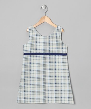 Navy & White Plaid Dress - Infant, Toddler & Girls