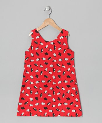 Red Penguin Dress - Infant & Toddler