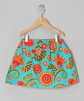 Turquoise Floral Skirt - Infant & Toddler
