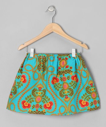 Turquoise Vine Skirt - Infant, Toddler & Girls