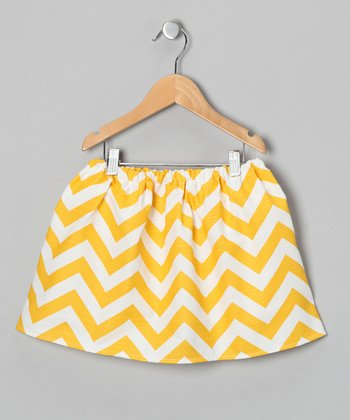 Yellow & White Zigzag Skirt - Infant, Toddler & Girls