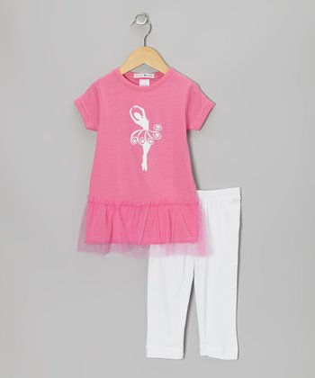 Pink Ballerina Tunic & White Leggings - Toddler