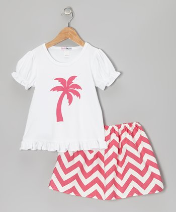 Pink & White Zigzag Tee & Skirt - Infant & Toddler