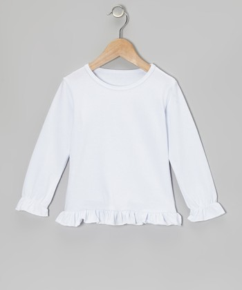 White Ruffle Long-Sleeve Tee - Toddler & Girls