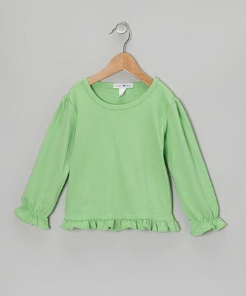 Green Ruffle Long-Sleeve Tee - Toddler & Girls