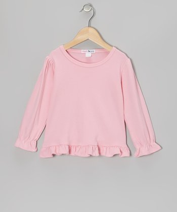 Pink Ruffle Long-Sleeve Tee - Toddler & Girls