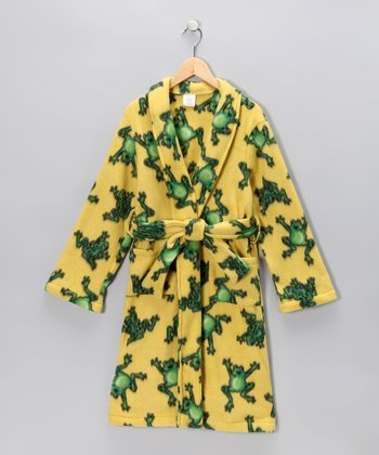 Yellow Jumping Frog Robe - Kids