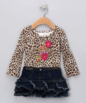 Leopard Floral Denim Drop-Waist Dress - Girls