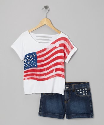 White Flag Top & Denim Shorts