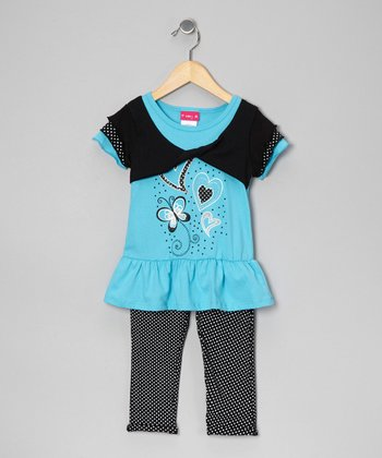Blue Shrug Top & Leggings - Infant, Toddler & Girls