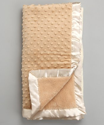 Tan & Cream Reversible Minky Dot Blanket
