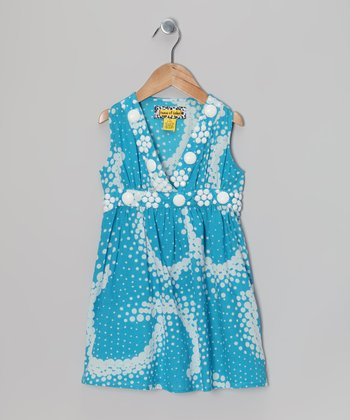 Turquoise & White Bubble Yum Dress - Toddler & Girls
