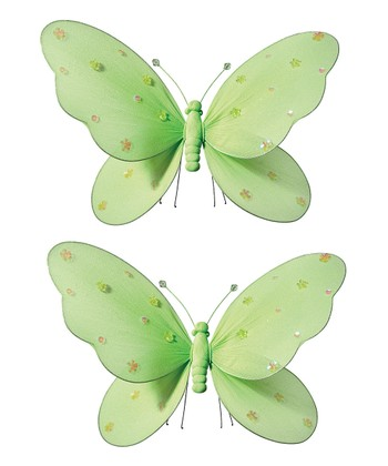 Green Jeweled Butterfly - Set of Two