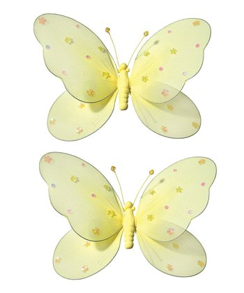Yellow Medium Jeweled Butterfly - Set of Two