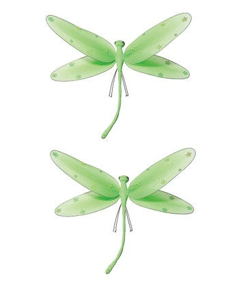 Green Medium Jeweled Dragonfly - Set of Two