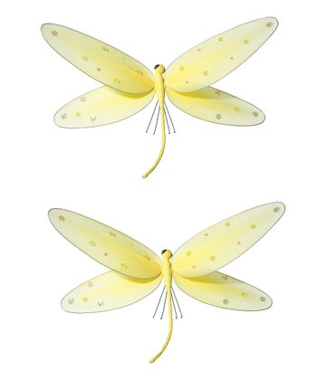 Yellow Jeweled Dragonfly - Set of Two