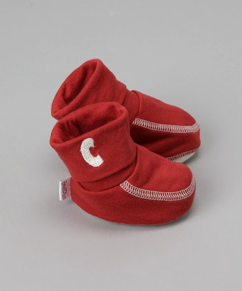 Small Plum - Cranberry Booties with Embroidered Initial